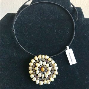 Jewelry - Pearl Choker with Gemstone Brand New